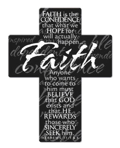 Mini Metal Faith Cross Magnet 2.25In X 3In-Hebrews 11:1,6
