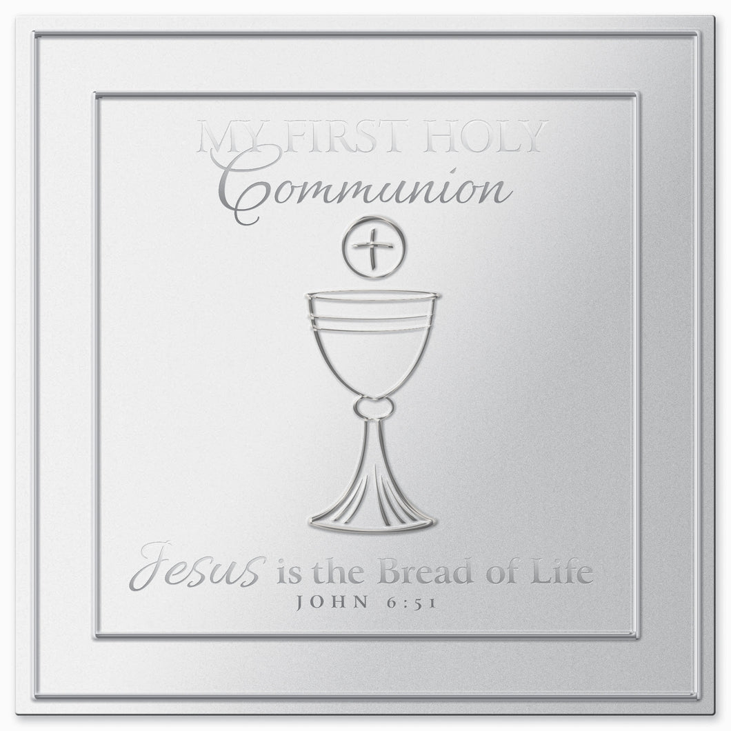 Plaque - First Communion - Silver Satin Metal