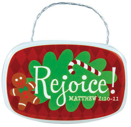 Hanging Plaque - Oval - Retro Plaque Ornaments - Rejoice - Matthew 2:10-11 3.5 In X 2 In