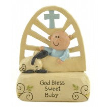Sweet Baby Ornament Boy/blue God Bless Sweet Baby