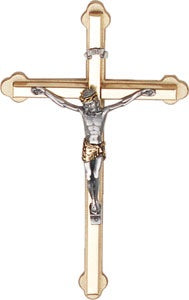 2 Tone Metal  Hanging Cross