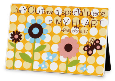 A Special Place in my Heart Ceramic. Dots Series. 6in X 4in. Philippians 1:7