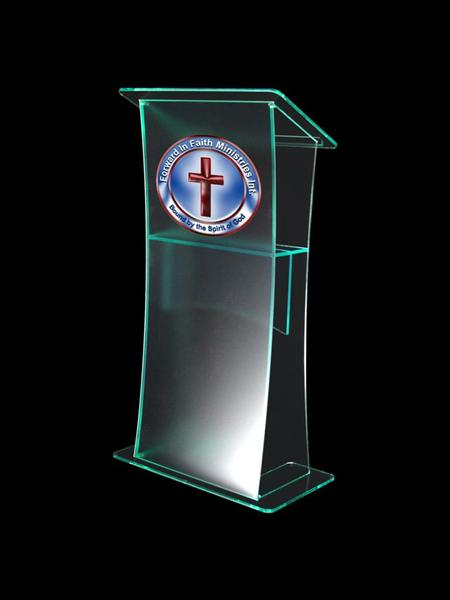 Lectern With Frosted Front Panel