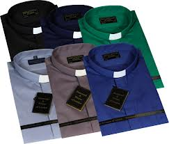 "Men Long Sleeve 1"" with Tunnel Collar Clerical Shirts (Colour Options Available)"