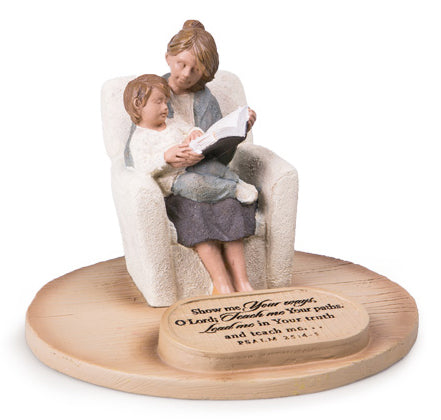 Sculpture - Devoted Sculpture Series - Devoted Mum With Son - 6' X 6' X 4.1/2' Psalm 25:4-5