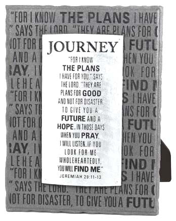 Plaque - Gray & Silver Layered - Journey - 6in X 8in
