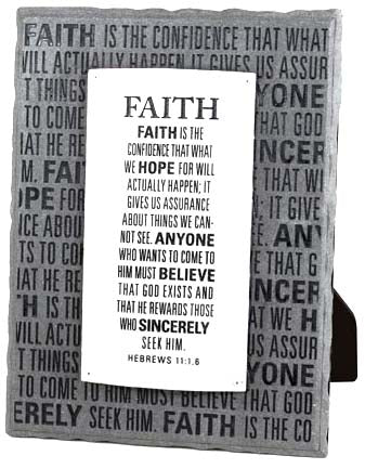 Plaque - Gray & Silver Layered - Faith - 6in X 8 In. Hebrews 11:1.6