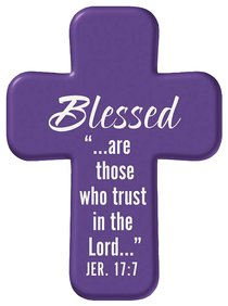 Squeezable Pocket Cross With Card: Blessed (Purple)
