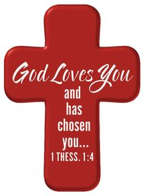 Squeezable Pocket Cross With Card: God Love You (Red)
