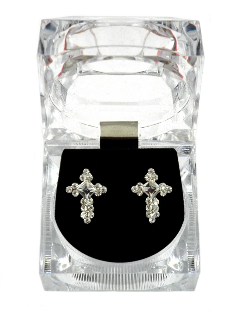 CRYSTAL CROSS STUD EARRINGS IN PRESENTATION BOX