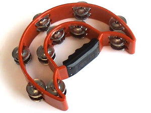 Red Double Half Moon Tambourine