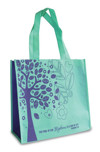 Eco Tote Bag. Reusable Shopping Bag , 12.5in X 6in X 12in. Tree Of Life Proverbs 11:30