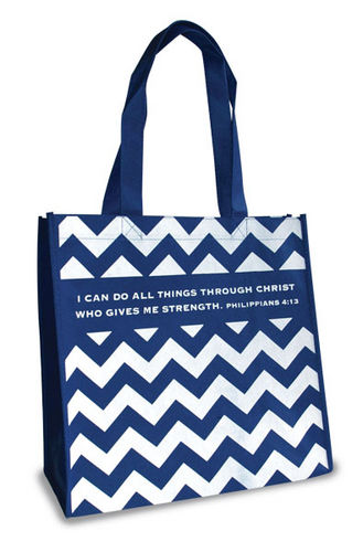 Eco Tote Bag. Reusable Shopping Bag , 12.5in X 6in X 12in. I Can Do All Things . Philippians 4:13