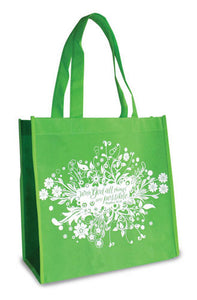Eco Tote Bag. Reusable Shopping Bag , 12.5in X 6in X 12in. All Things Are Possible. Matthew 19:26