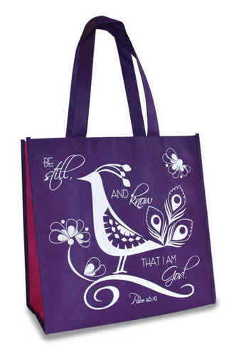 Eco Tote Bag. Reusable Shopping Bag , 12.5in X 6in X 12in. Be Still. Psalm 46:10