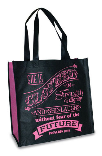 Eco Tote Bag. Reusable Shopping Bag , 12.5in X 6in X 12in. Clothed In Strength. Proverbs 31:25