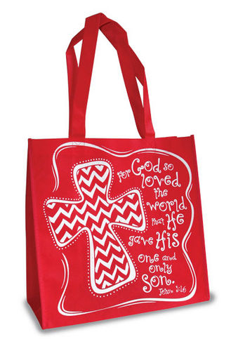 Eco Tote Bag. Reusable Shopping Bag , 12.5in X 6in X 12in. For God So Loved. John 3:16