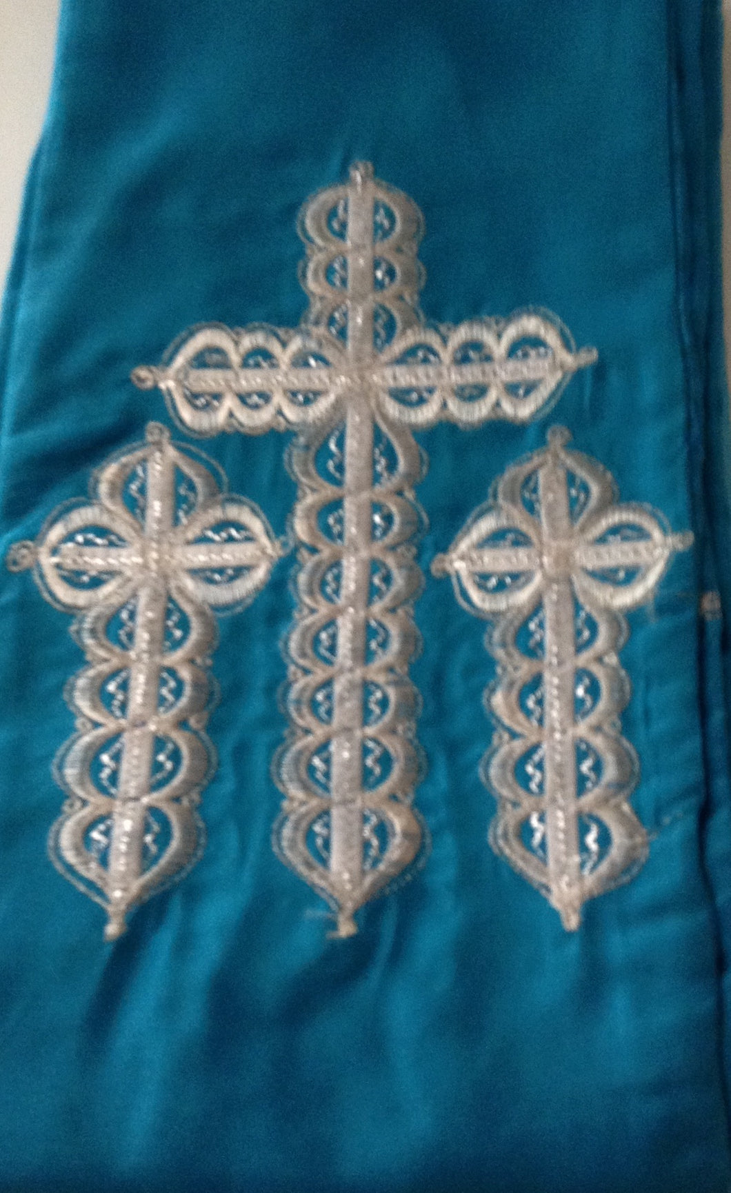 Turquoise Blue Amure with 3 cross made with embroideries