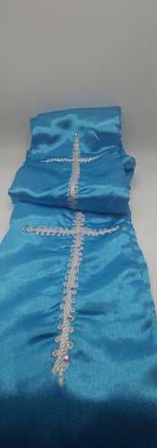 Turquoise Blue Amure with 1 cross made with embroideries
