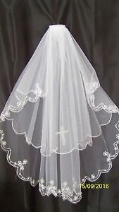 FIRST HOLY COMMUNION * 2 TIER VEIL FAUX DIAMANTE CROSS EMBROIDERED PEARL EDGE