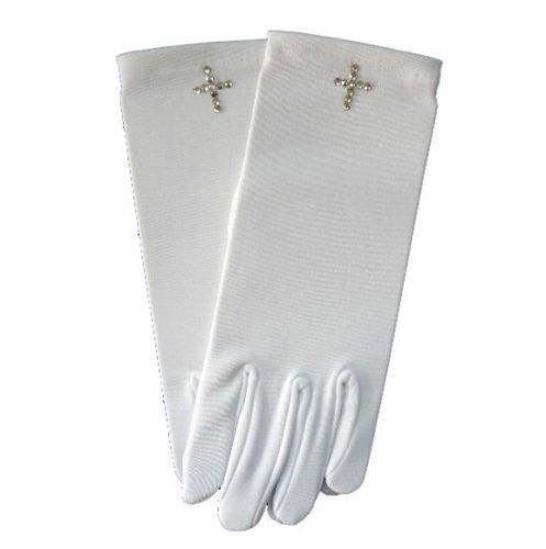 WHITE SATIN GLOVE WITH DIAMANTE CROSS FIRST COMMUNION GIRL CHILDS