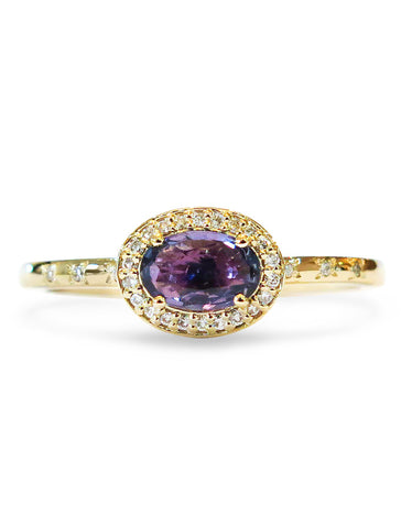 Purple sapphire and gold engagement ring by Dana Walden bridal