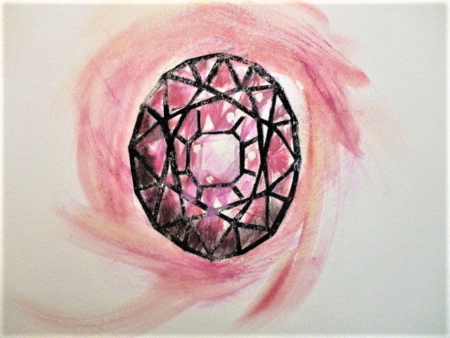 Pink tourmaline painting by Frank Chin