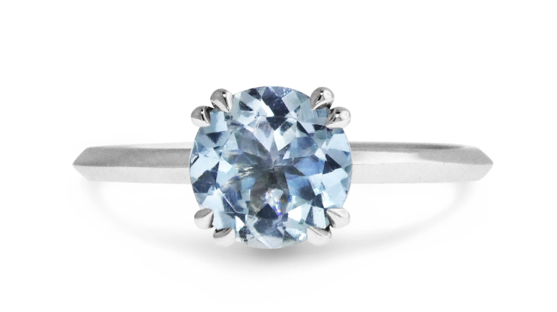 Kelsie aquamarine solitaire engagement ring by Dana Walden NYC