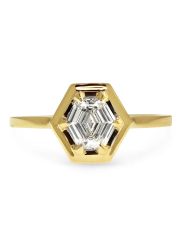 Henley Diamond solitaire engagement ring set in yellow gold