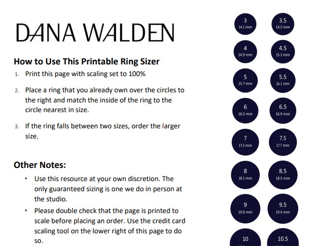 This is what our printed ring sizer looks like online