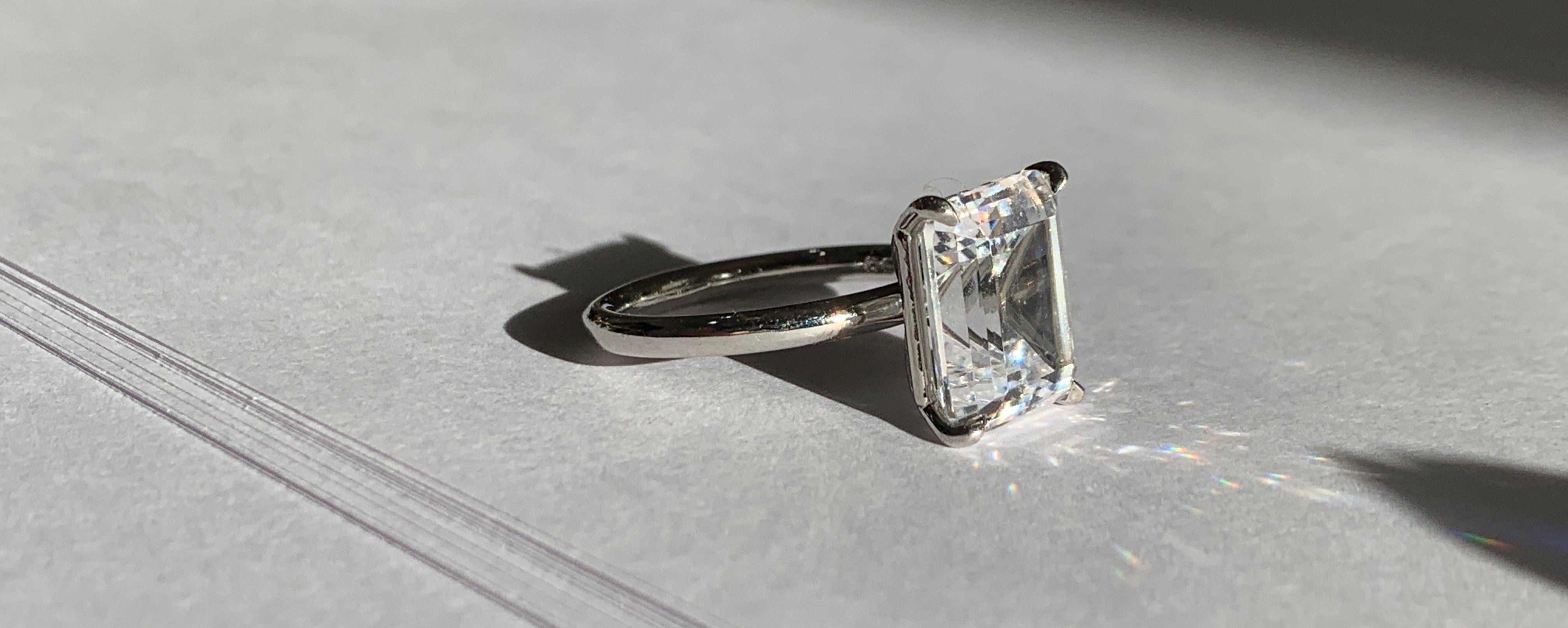 Diamond solitaire engagement ring- white gold platinum engagement ring- unique engagement ring