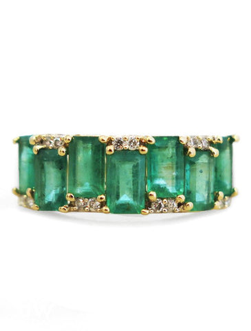 Allie Emerald and Gold Engagement Ring by Dana Walden Jewelry