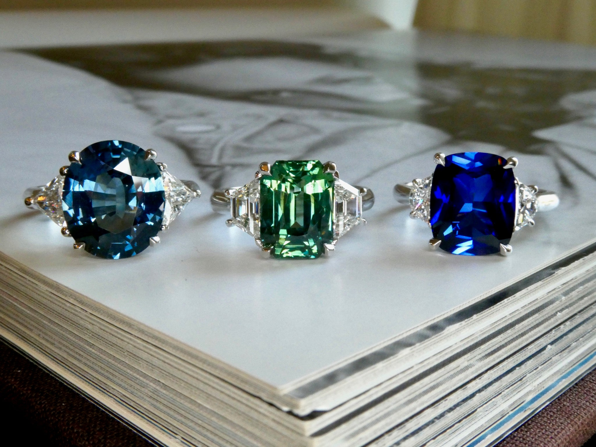 sapphire and platinum engagement rings