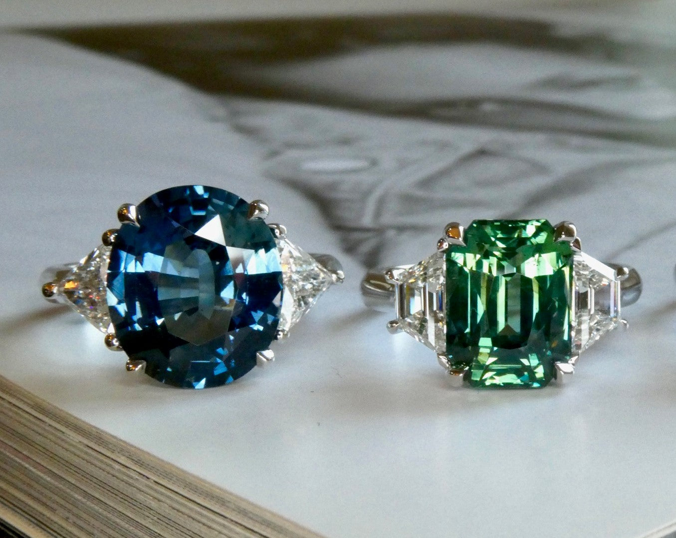 New sapphire and platinum engagement rings by Dana Walden Bridal