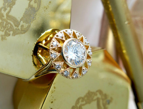 Sienna Unique Yellow Gold Diamond Engagement Ring - NYC
