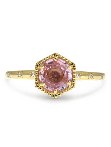 Matilda Pink sapphire and gold engagement ring with diamonds
