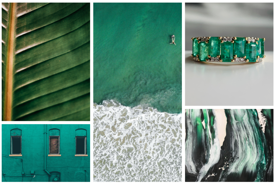 Emerald ALLIE ring mood board with inspirational images