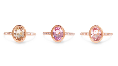 New Sapphire Engagement Rings in shades of pink