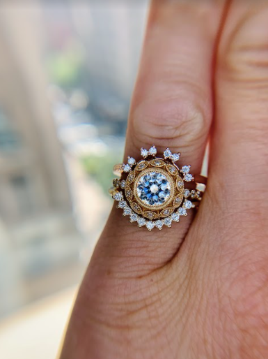 Marquesa engagement ring with tiara style bands