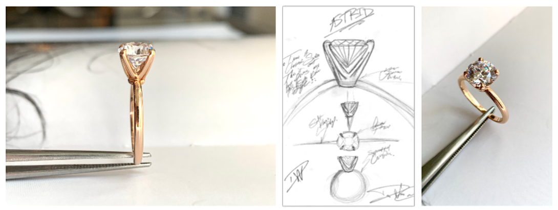 Astrid Diamond Solitaire Engagement Ring photos and sketch