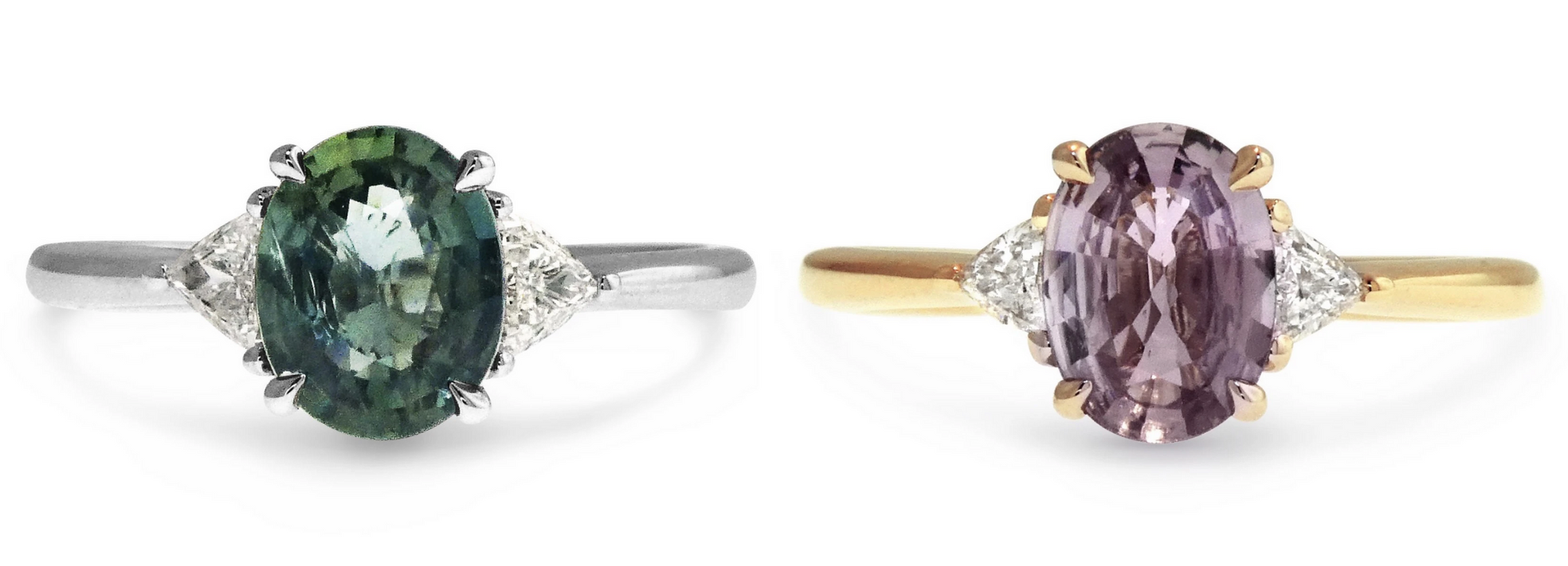 Cheryl and Apryl three-stone oval sapphire engagement rings
