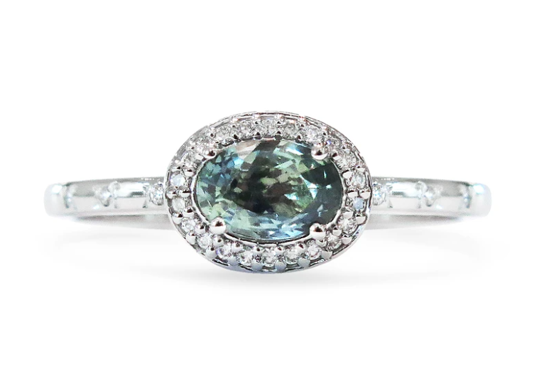 Analia blue sapphire east-west engagement ring