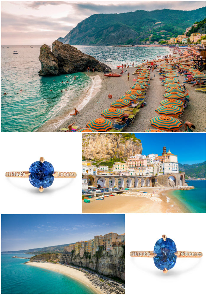 Italian beaches - blue sapphire engagement rings by Dana Walden Bridal