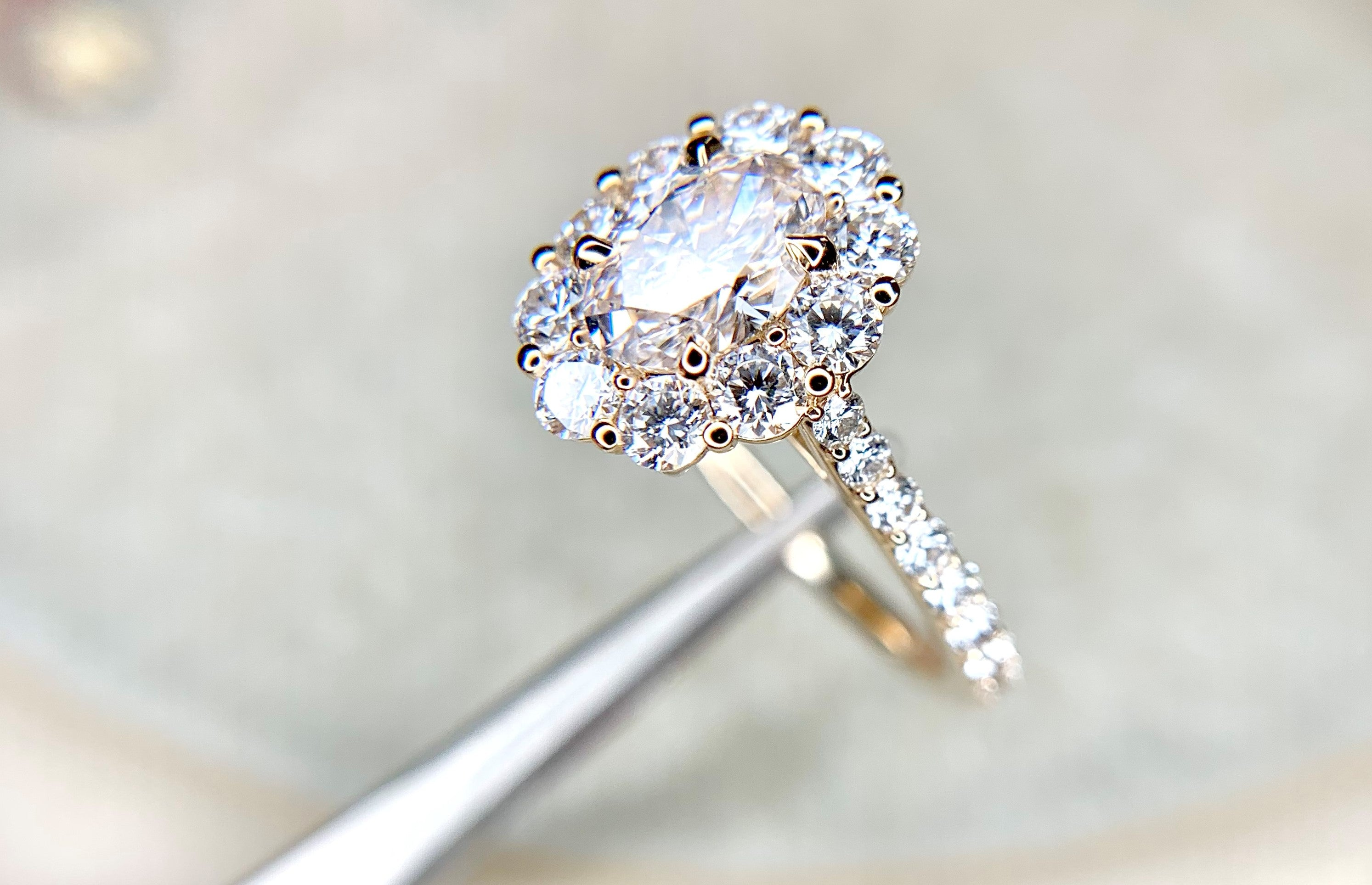 Lab Diamond Halo Engagement Ring by Dana Walden