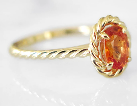 Chantalle orange sapphire engagement ring