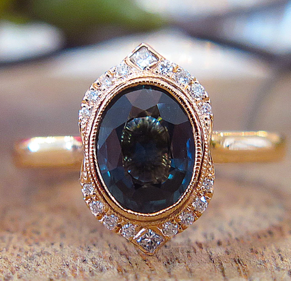 Teal Sapphire Engagement Ring by Dana Walden