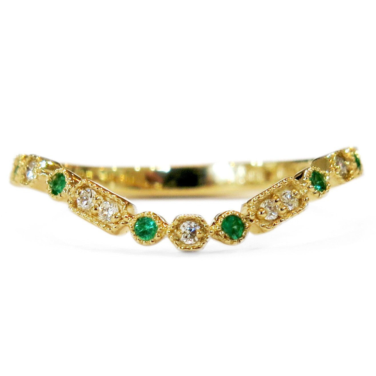 It is just an image of Abrielle Diamond & Emerald Curved Wedding Band in Yellow Gold