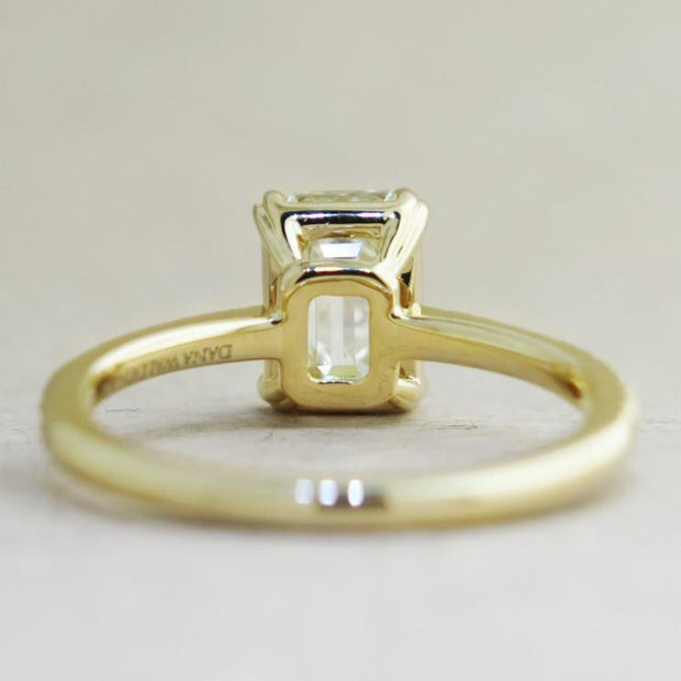 Alaia Unique Emerald Cut Diamond Engagement Ring - Ethical Ultra Thin Yellow Gold with Pave - Designed by Dana Chin and Radika Chin for Dana Walden Bridal - NYC - Back View