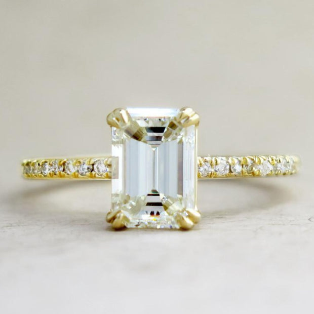 Alaia Unique Emerald Cut Diamond Engagement Ring - Ethical Ultra Thin Yellow Gold with Pave - Designed by Dana Chin and Radika Chin for Dana Walden Bridal - NYC