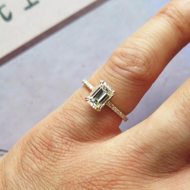 Alaia Unique Emerald Cut Diamond Engagement Ring - Ethical Ultra Thin Yellow Gold with Pave - Designed by Dana Chin and Radika Chin for Dana Walden Bridal - NYC - Hand View